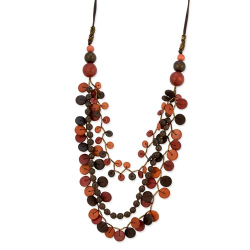 Multicolor Hamba Wood Beaded 32in Slip-on Necklace