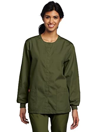 Dickies Medical Scrubs 885306 Women's Missy Fit Every Day Scrubs Round Neck Jacket Dark Olive X-Small