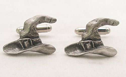 Solid Pewter Wizard'S Hat Cufflinks With Gift Box