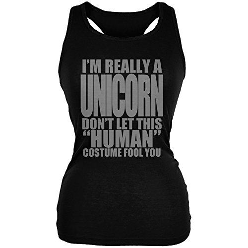 Halloween Human Unicorn Costume Black Juniors Soft Tank Top
