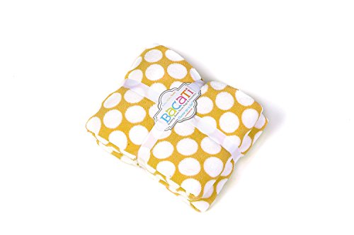 "Bacati Dots Plush Throw, Yellow, 50"" x 60"""