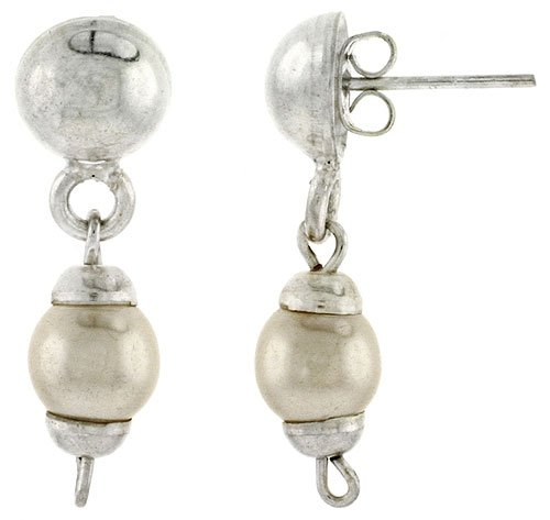 Sterling Silver Post Earrings w/ Faux Pearl, 1 1/4