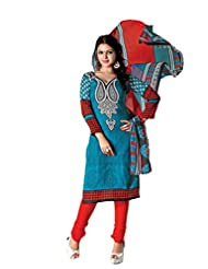 RUDRA FASHION Women's Light Blue & Red Cotton Salwar Suit Unstiched Dress Material With Matching Cotton Dupatta...