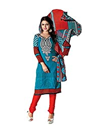 RUDRA FASHION WOMEN'S LIGHT BLUE & RED COTTON SALWAR SUIT DRESS MATERIAL WITH COTTON DUPATTA.DS-2115