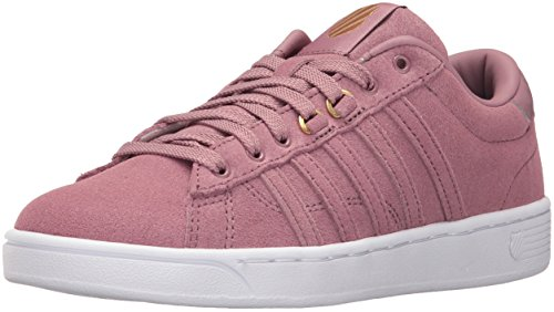 K-Swiss Women's Hoke Fantasy Suede CMF Fashion Sneaker, Wistful Mauve/Gold/White, 8.5 M US