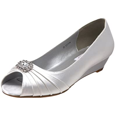 Bridal Shoes Flats Dyeables Women Anette Low Heel Wedge