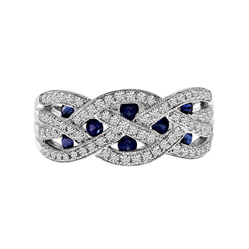 0.70 Carat Ctw 14K Gold Round Blue Sapphire & Diamond Braided Twisted Infinity Fashion Anniversary Band - White-Gold, Size 6.5