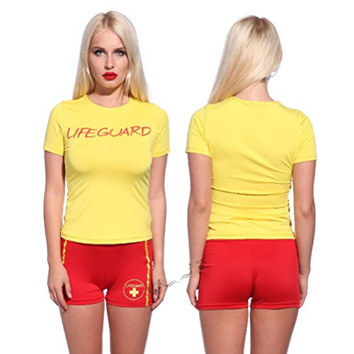 Womens Costume Lifeguard Yellow T-shirt and Red Shorts