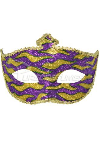 Mardi Gras Animal Print Adult Mask (Purple)
