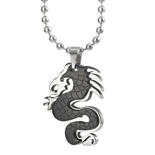 Unique Stainless Steel Dragon Art Mens Necklace Pendant Cubic Zirconium by R&B Jewelry