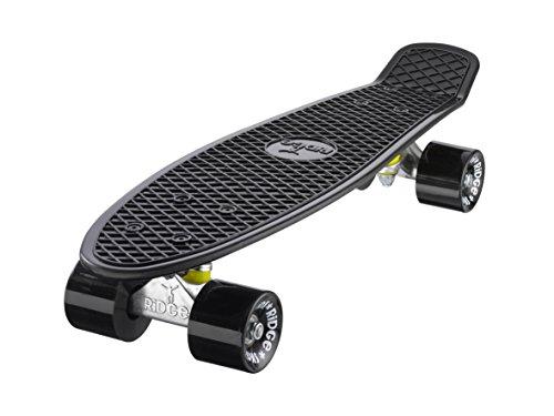 """Ridge Retro Style Complètes Mini Cruiser Skateboard Avec Abec-7 Roulements 22 """"""""X 6"""""""" (55cm X 15cm) (Noir Avec Des Roues Noir)"""