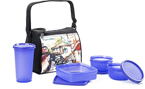 Signoraware Malgudi Plastic Lunch Box Set, 4 Pieces, Violet