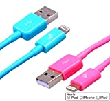 Certified by Apple - Lifetime Warranty - Bundle of 2 Extra Long 6.5 Feet 8-Pin Lightning USB Charger Cables for iPhone 5 5c 5s iPod Touch 5 Nano 7 iPad 4 iPad mini iPad Air - for Sync and Charging - Premium MFi Quality (Pink + Blue)