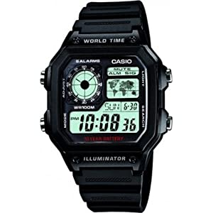 Casio Men's Quartz Watch with Grey Dial Analogue - Digital Display and Black Resin Strap AE-1200WH-1AVEF