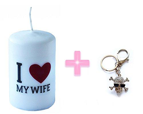 I Love My Wife Candela dimensioni 6x 10cm + Color Oro teschio di strass portachiavi con ciondolo borsetta portachiavi regalo