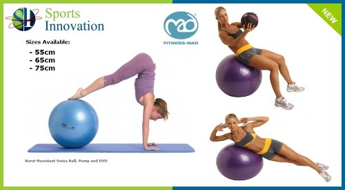 Fitness-Mad Swiss Gym Ball - 300Kg Swiss Ball with Pump and DVD 55cm,65cm,75cm