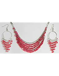 Magenta Sequined Jhalar Necklace With Earrings - Acrylic And Metal