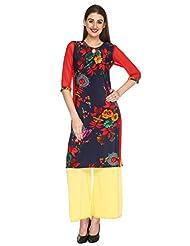 Fashion205 Blue And Red Printed European Crepe Long Kurti - B00ZL7X2XO