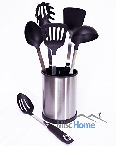 Misc Home 6 Piece Stainless Steel Kitchen Utensil Set with Rotating Cooking Utensil Holder - Black