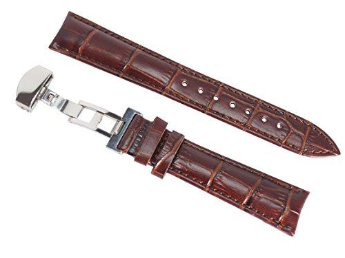 グランドセイコー適合 本革 腕時計 Dバックル ベルト (19mm 茶/ブラウン)