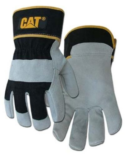 CAT Premium Grey/Black Leather Palm Work Gloves - Large #CAT013201L