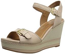 Clarks Women\'s Zia Castle Platform Sandal, Nude, 8.5 M US