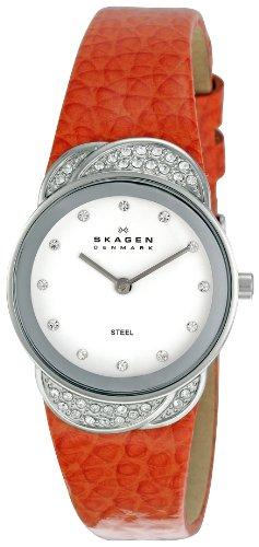 Skagen Designs UK - 818SSLO - Montre Femme - Quartz Analogique - Bracelet Cuir Orange