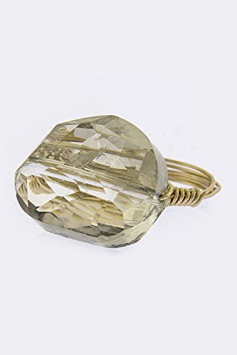 Karmas Canvas Faceted Jewel Accent Ring (Light Gray)