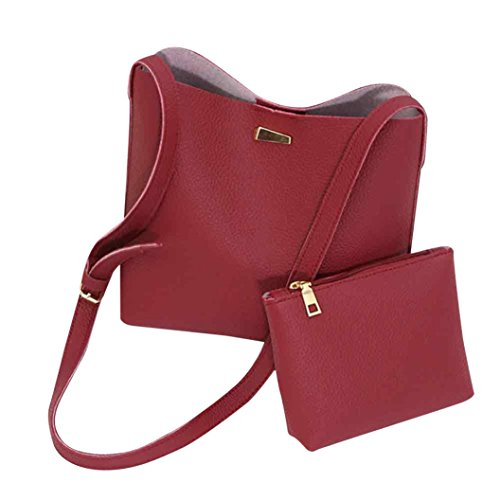 GBSELL Stylish Women Lady 2PC Set Shoulder Bag + Clutch Set Christmas Gift (Red)