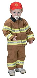 Jr. Fire Fighter Suit with embroidered Cap, size 18Month (tan)