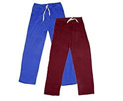 IndiWeaves Women Super Combo Pack 4 (Pack of 2 Lower/Track Pant and 2 T-Shirt)_Blue::Maroon::Red::Black _XXL