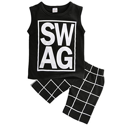 Little Boys Sleeveless Letters Print Tank Top and Lattice Shorts Outfit (90(1-2Y))