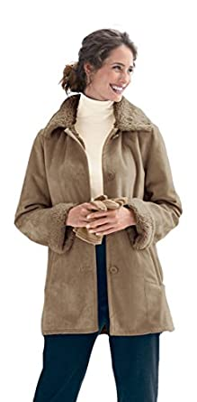 Appleseed's Women's Petite Faux Shearling Coat - P-XL