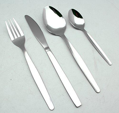 EXZACT EX826 Set di 16 pezzi di posate in acciaio inox - 6 Forchette, 6 Coltelli Cena, 6 Cucchiai Cena, 6 Cucchiaini (Set di posate x 24)