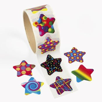 100 Funky Star Roll Stickers - 1