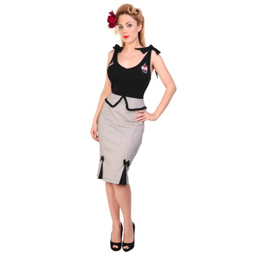Banned Black Dogtooth Cupcake Rockabilly Pinup Vintage 50s Peplum Pencil Dress