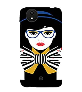 PrintVisa Tom Boy Nerdy Girl Art 3D Hard Polycarbonate Designer Back Case Cover for Micromax Canvas Android A1