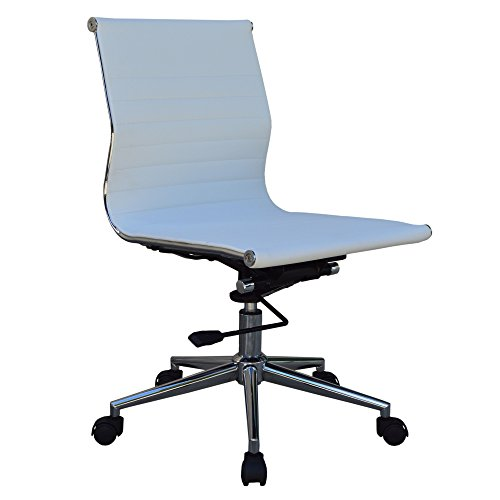 Mid-Back Armless Ribbed Upholstered Leather Swivel Conference Chair (White)