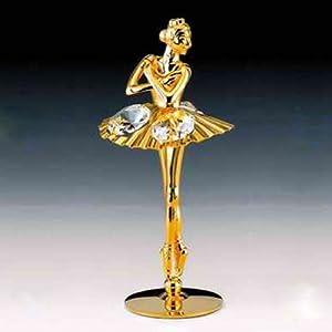 Ballerina 24K Gold Swarovski Crystal Free Standing Fig