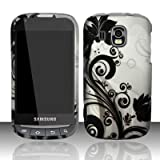 Samsung Transform Ultra M930 Accessory - Silver Black Vine Design Protective Hard Case Cover for Sprint / Boost Mobile