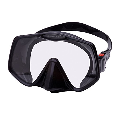 Atomic Frameless 2 Low Volumes Scuba Diving Mask with Ultra-Clear Lens (Black/Red)