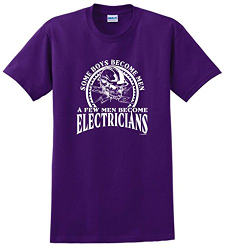 Created Equal, Some Boys Become Men Electricians T-Shirt 3Xl Purple