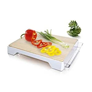 Vacu Vin Bamboo Cutting Board with White Tray, 12 by 15-Inch
