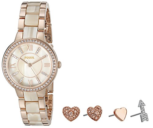 Fossil Women's ES3965SET Virginia Three-Hand Stainless Steel Watch and Earring Set (Rose Resin Bracelet compare prices)