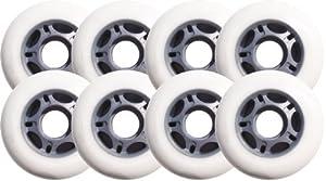 8 ASPHALT HOCKEY FORMULA Inline Skate Wheels 76mm 89a WHITE by [BLANKNYC]