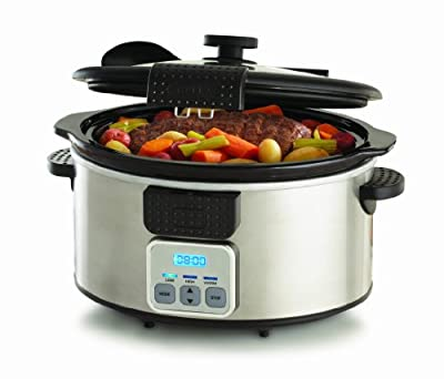 BELLA 13722 Programmable Slow Cooker with Locking Lid, 6-Quart, Stainless Steel and Black from D&H Distributing - Sensio Products