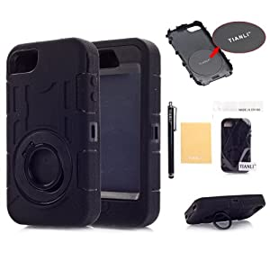 TIANLI(TM) Deluxe Hard Soft High Impact Hybrid Armor Defender Case Combo For Apple iphone 4 4S 4G+[Screen Protector]+[Free Stylus]+[Cleaning Cloth] BLACK A1 by TIANLI LTD.
