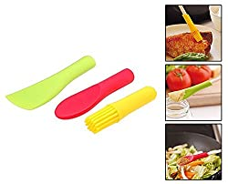 Km 3 Pieces Set Of Spatula + Spoon + Brush Heads Chopstick Accessories - For Food Making Decoration Cuisine Preparation