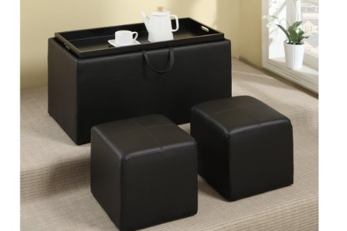 3-Pcs Cocktail Ottoman In Faux Black Leather By Poundex
