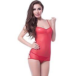 NImra Fashion Red Solid Babydoll (Free)